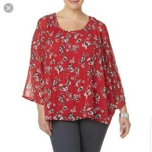 Simply Emma 3X Top Red Floral Chiffon Pleated NWT